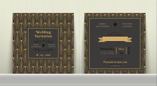 Art Deco Wedding Invitation Card vector