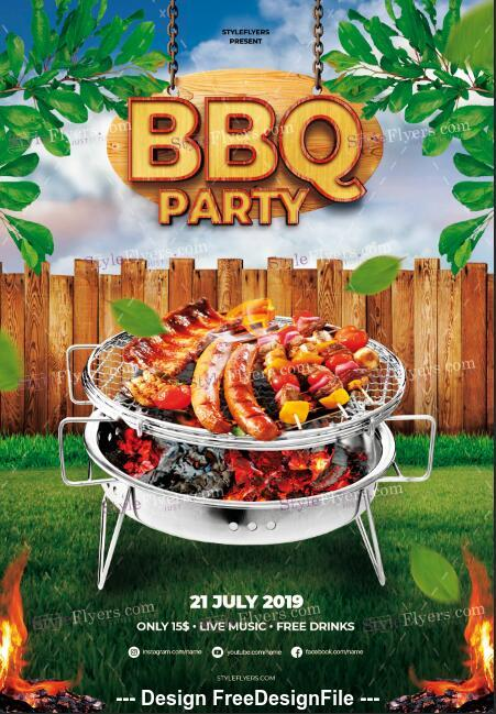 BBQ Party psd flyer template and facebook cover
