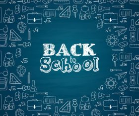 Back to schooi dark blue background vector