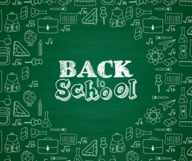 Back to schooi green background vector