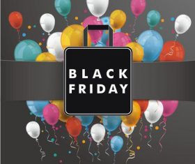 Banner Black Friday Shopping Bag Balloons vectors