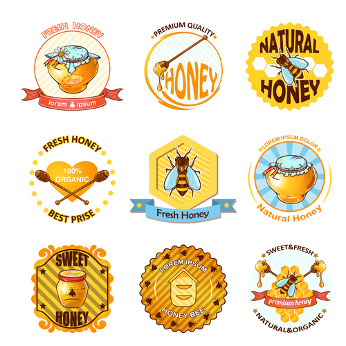 Bee and honey sticker label vector