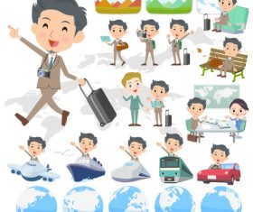 Beige suit short hair beard man travel vector