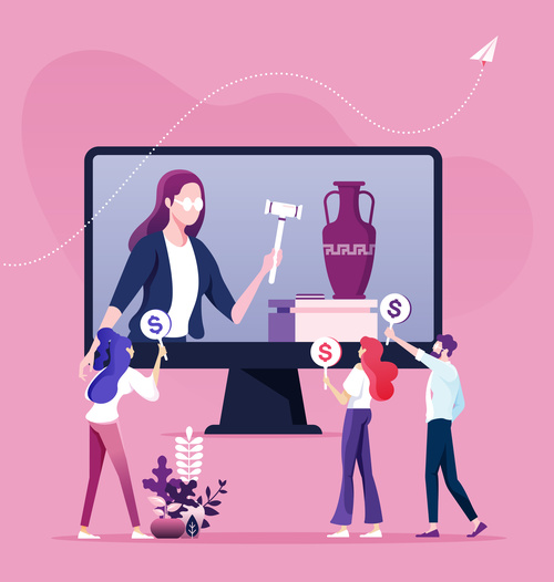 Bid auction and buy online concept vectors