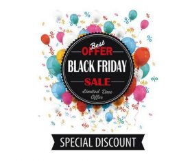 Black Friday Emblem Balloons Percents Banner vectors