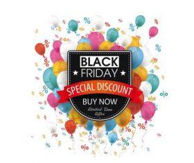 Black Friday Shield Flag Balloons Percents vectors