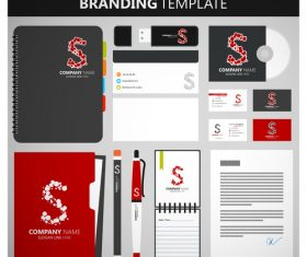 Black and red corporate identity template vector