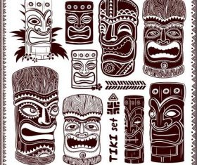 Black and white face Aloha Tiki statue illustration vector
