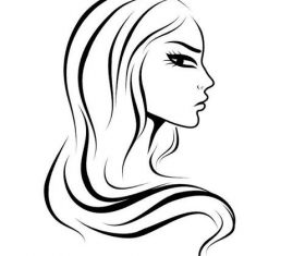 Black and white lines female sketch vectors