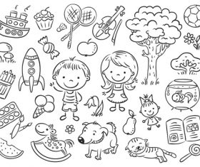 Black and white sketch for children vector