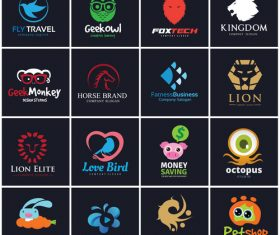 Black background Animal logo collection vector