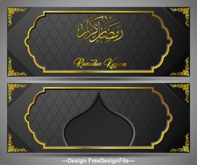 Black background Ramadan Kareem vector greeting card banner vector