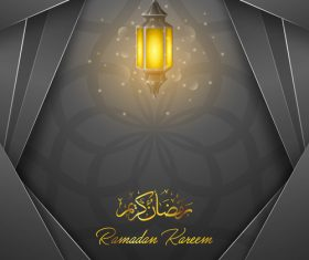 Black background Ramadan Kareem vector greeting card vector 01
