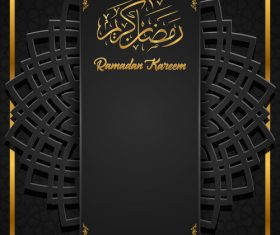 Black background Ramadan Kareem vector greeting card vector 02