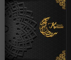 Black background Ramadan Kareem vector greeting card vector 03