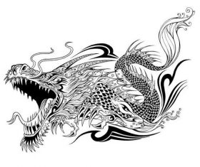 Black dragon tattoo silhouette vector