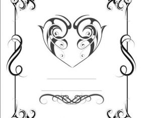 Black floral and heart shaped frame design vector