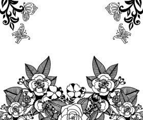 Black flower ornaments illustration vector design 01