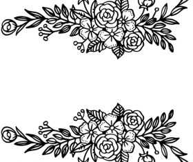 Black flower ornaments illustration vector design 02