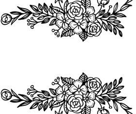 Black flower ornaments illustration vector design 02