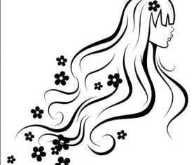 Black line girl and flower vectors