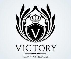 Black victory logo vector