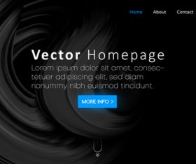 Black website template vector homepage design vectors