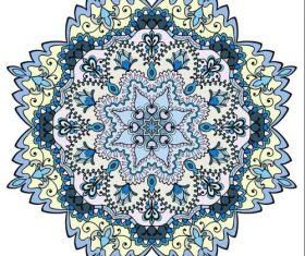 Blue Mandala geometric round ornament vector