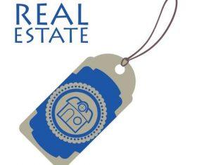 Blue Real estate label vector