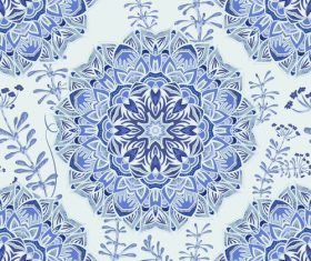 Blue and white porcelain background seamless pattern vectors
