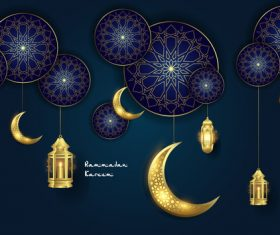 Blue background Eid mubarak luxury design vector