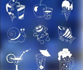 Blue background food menu Illustrations vectors