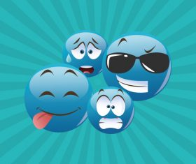 Blue emoticon pack icon vector