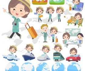 Blue-green tunic Middle woman travel vector