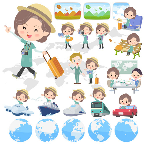 Blue green tunic Middle woman travel vector