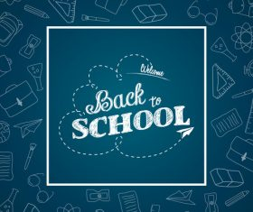 Blue squares background back to school vector