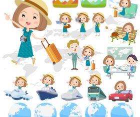 Bob hair green dress woman travel vector