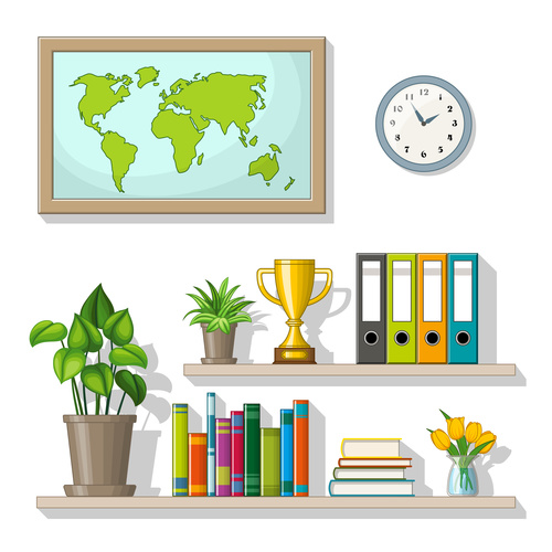 Books and trophies on the shelf vectors