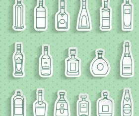 Bottle transparent stickers vector