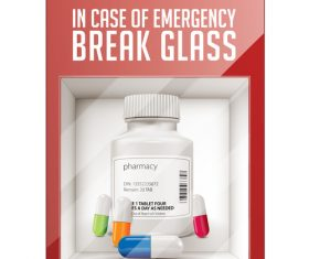 Break glass pills vector
