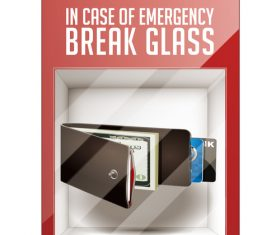 Break glass wallet vector