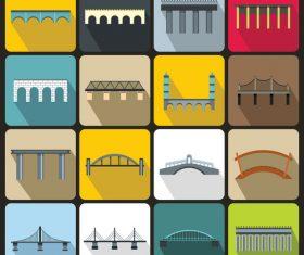 Bridge icons flat style vector