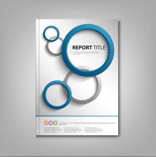 Brochures book blue gray rounds template vectors