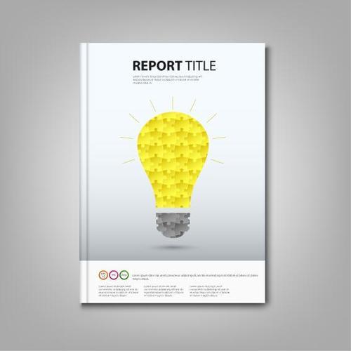 Brochures book colored puzzle bulb template vectors