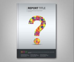 Brochures book colored puzzle question template vectors