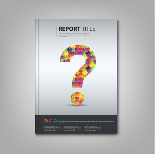 Brochures book colored puzzle question template vectors