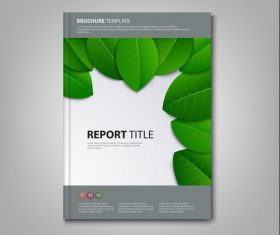 Brochures book green leaves template vectors