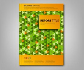 Brochures book green triangles template vectors