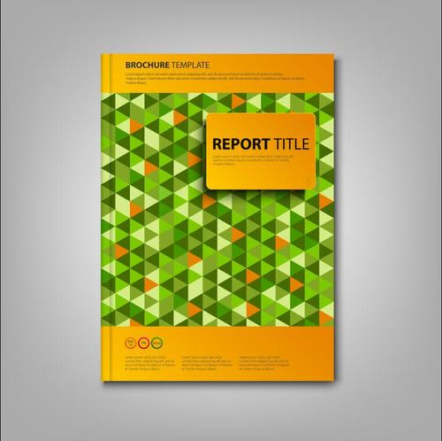 Brochures book green triangles template vectors