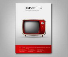 Brochures book red retro television template vectors